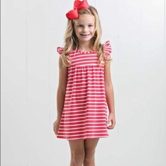 Ruffle Girl Other - Ruffle Girl Coral/White Pencil Stripe Pearl Dress